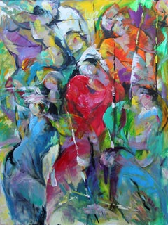 Migrate - Painting, Humanity, Bold Colors, Figurative Abstract by Tang
