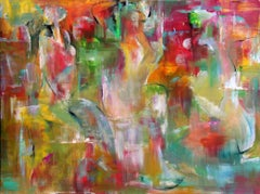 Temple Fair - Painting, Bright, Bold Colors, Figurative Abstract by Tang