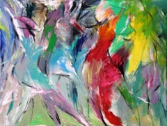 Revelry - Painting, Movement, Color, Figurative Abstract by Tang