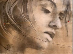 Le Destination - Painting, Charcoal, Face, Earth Tones by Desjardins