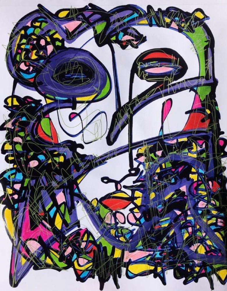 Pivotal - Mixed Media Painting on Paper, Bright, Vibrant Contemporary