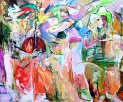 Street Artist - Painting, Bright, Musical, Figurative Abstract by Tang