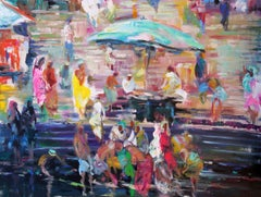 Ganges River - Painting, Scene by the River, Bold Colors, Figurative Abstract