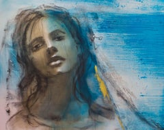 Erte - Painting, Charcoal, Oil, Blue Colors, Expressionism by Desjardins