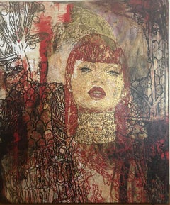 Painting, Textured, Red, Bold, Expressive - Judith by George Yepes