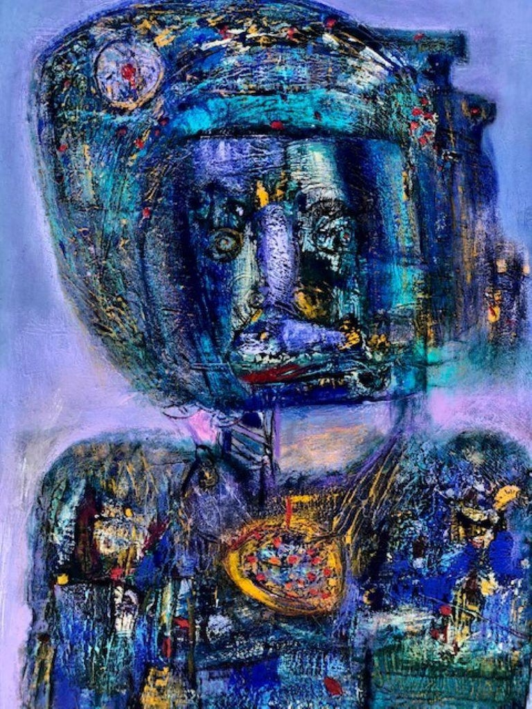 Elisa Valerio Figurative Painting - Painting, Layers of Paint, Blue, Gold, Violet, Warrior