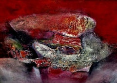 Abstraction - Painting, Movement, Texture, Red, Bold by Cuban Female Artist
