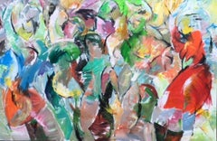 Moment - Painting, Figurative Abstract, Dancers, Colorful, Movement