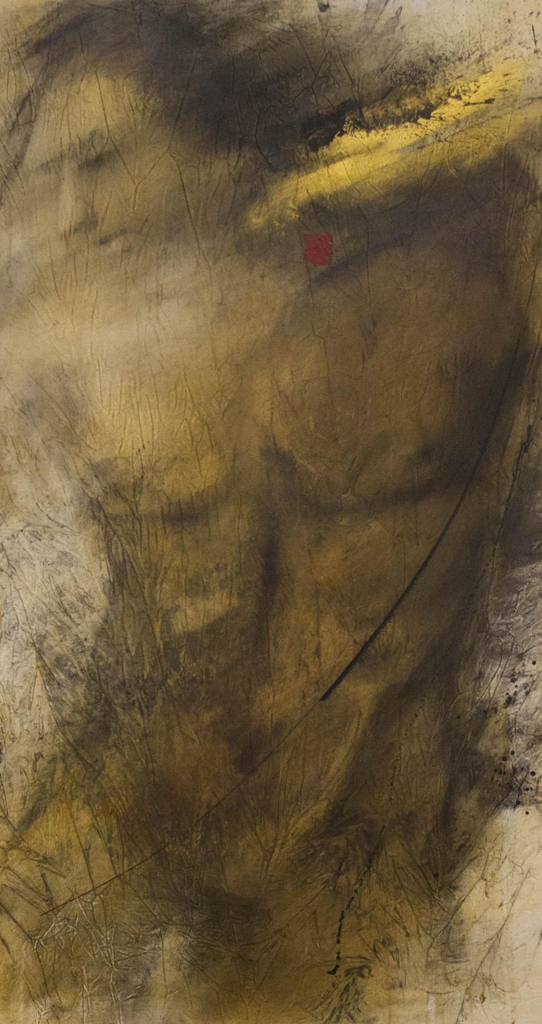 Andre Desjardins Abstract Painting - Painting, Mixed Media, Earth Tones, Nude, Male, Eden's Creation by Desjardins