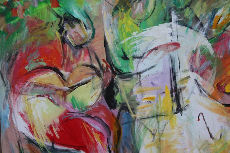 Painting, Musicians, Colorful Figurative Abstract - Play by Lei Tang For Sale 5