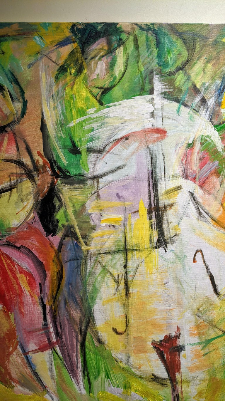 Painting, Musicians, Colorful Figurative Abstract - Play by Lei Tang For Sale 4