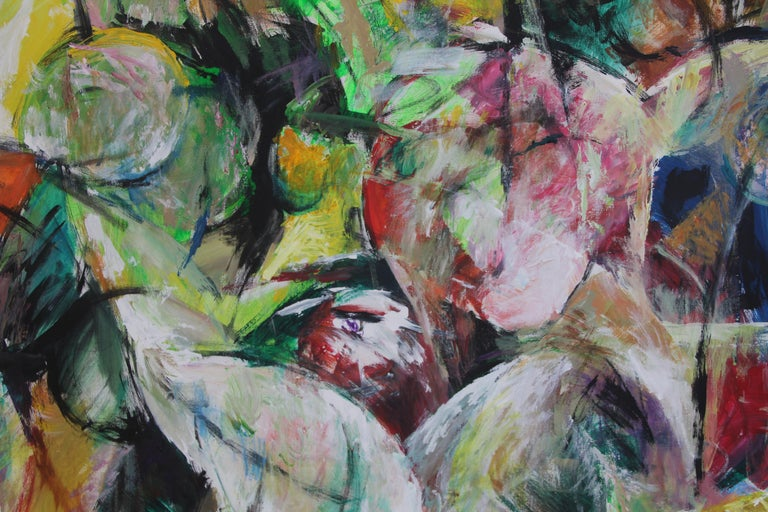 Painting, Bright Colors, Abstract, Expressive, Movement - 6.2019 by Lei Tang For Sale 3