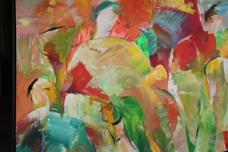 Painting, Colorful Figurative Abstract Large - Saturday Afternoon by Lei Tang For Sale 4