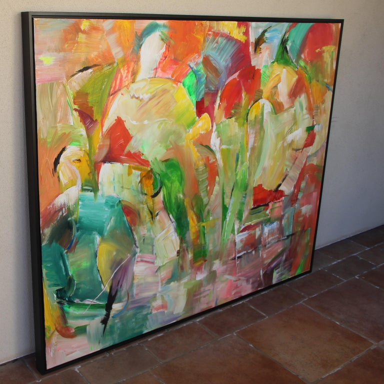 Painting, Colorful Figurative Abstract Large - Saturday Afternoon by Lei Tang For Sale 1