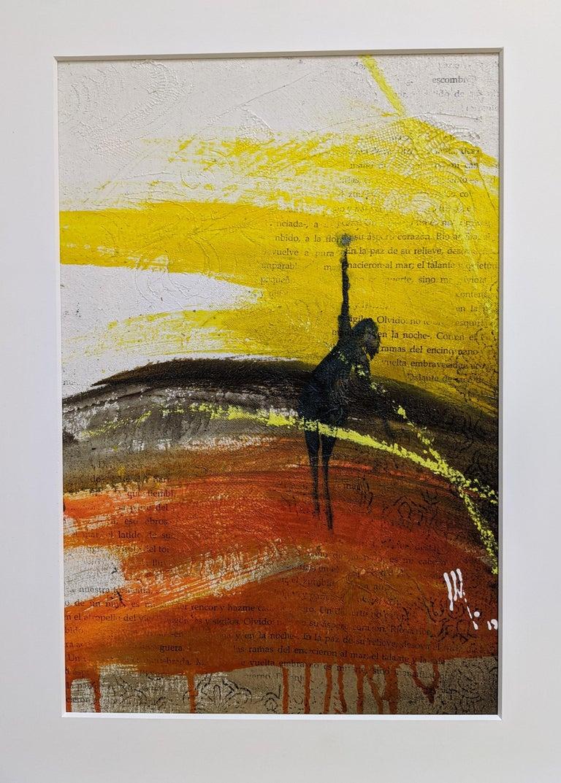 Mendel Samayoa Figurative Painting - Painting, Yellow, Red, Black, Figure, Poetry, Guatemalan Artist, Rehilete