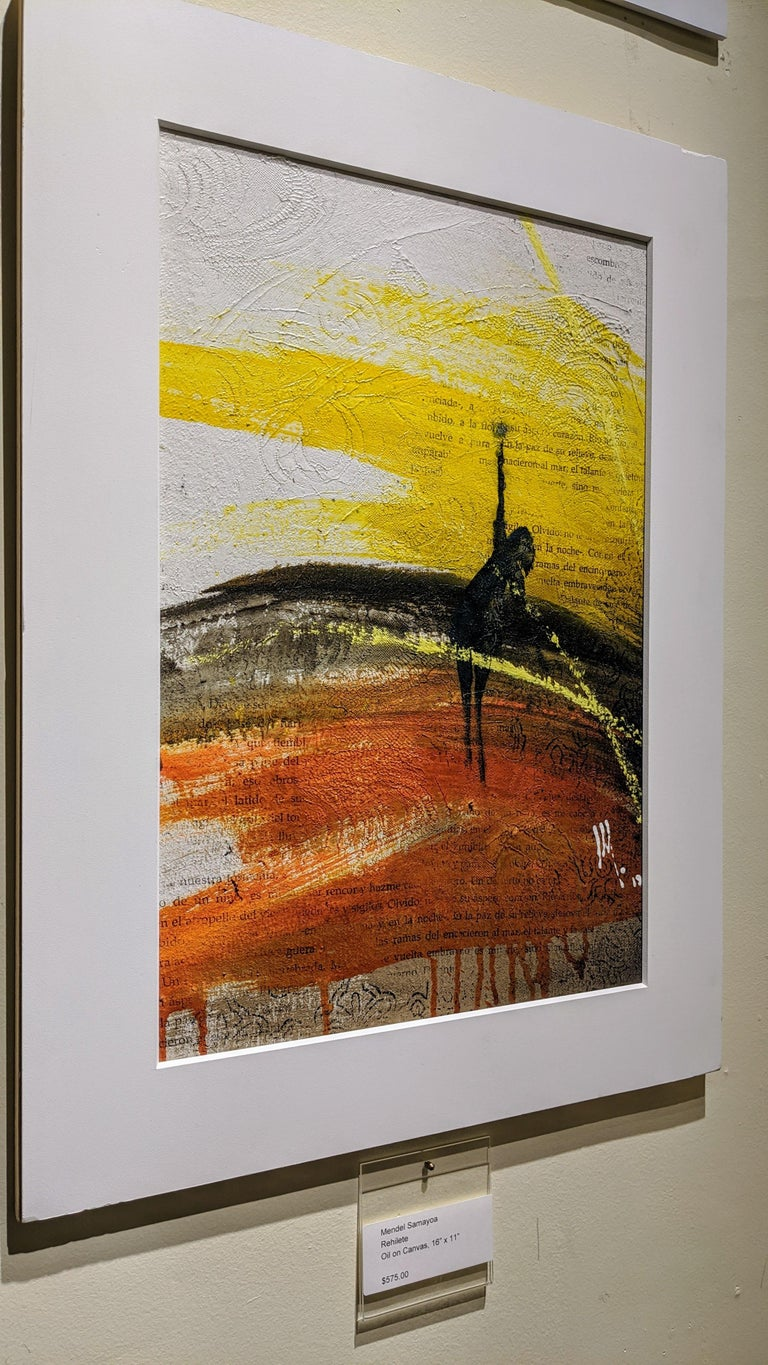 Painting, Yellow, Red, Black, Figure, Poetry, Guatemalan Artist, Rehilete  For Sale 2