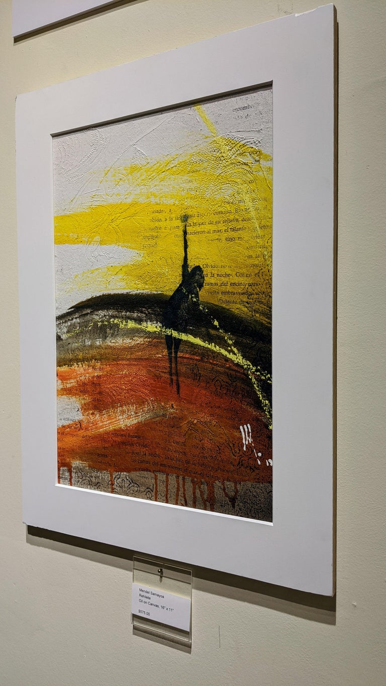 Painting, Yellow, Red, Black, Figure, Poetry, Guatemalan Artist, Rehilete  For Sale 3