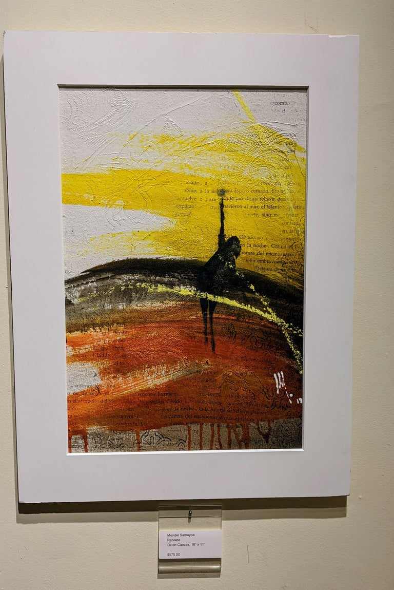 Painting, Yellow, Red, Black, Figure, Poetry, Guatemalan Artist, Rehilete  For Sale 4