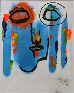 Glacial - Mixed Media on Paper, Expressionist, Contemporary Faces, Bold Color