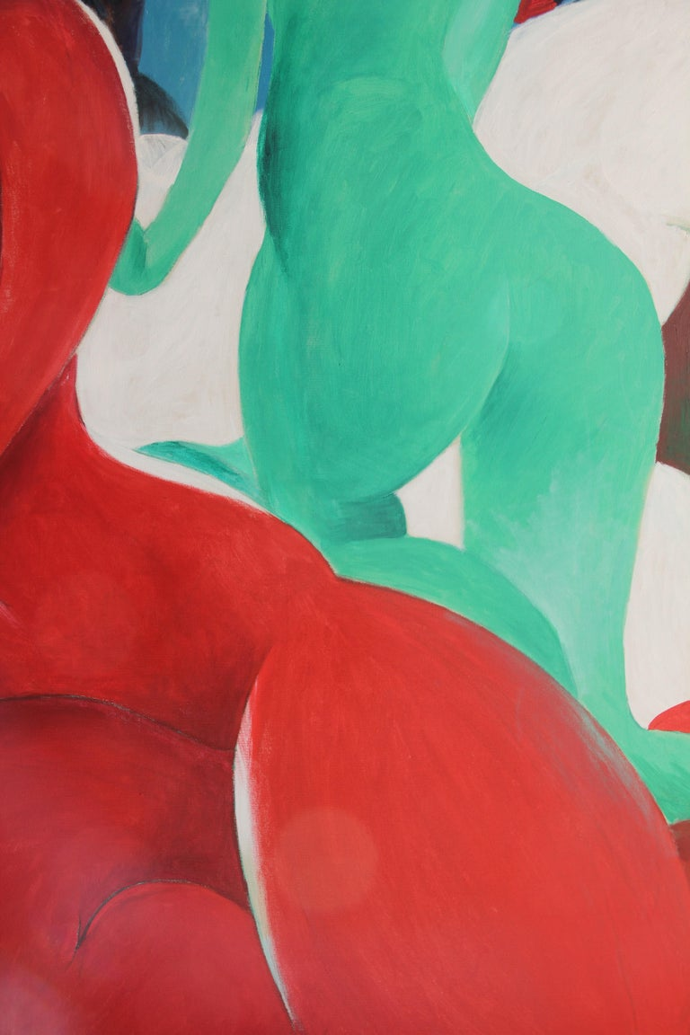 Painting, Nude Figurative, Abstract, Red, Blue, Green, Form by Lei Tang For Sale 1