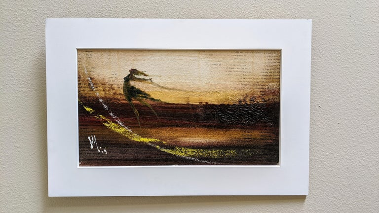 """This mixed media painting by Mendel Samayoa, is part of his """"Literary"""" series based on poetry by Paolo Guinea. Samayoa employs pages of Guinea's poetry into the canvas of his oil paintings converting the words into images. His brushstrokes bend"""