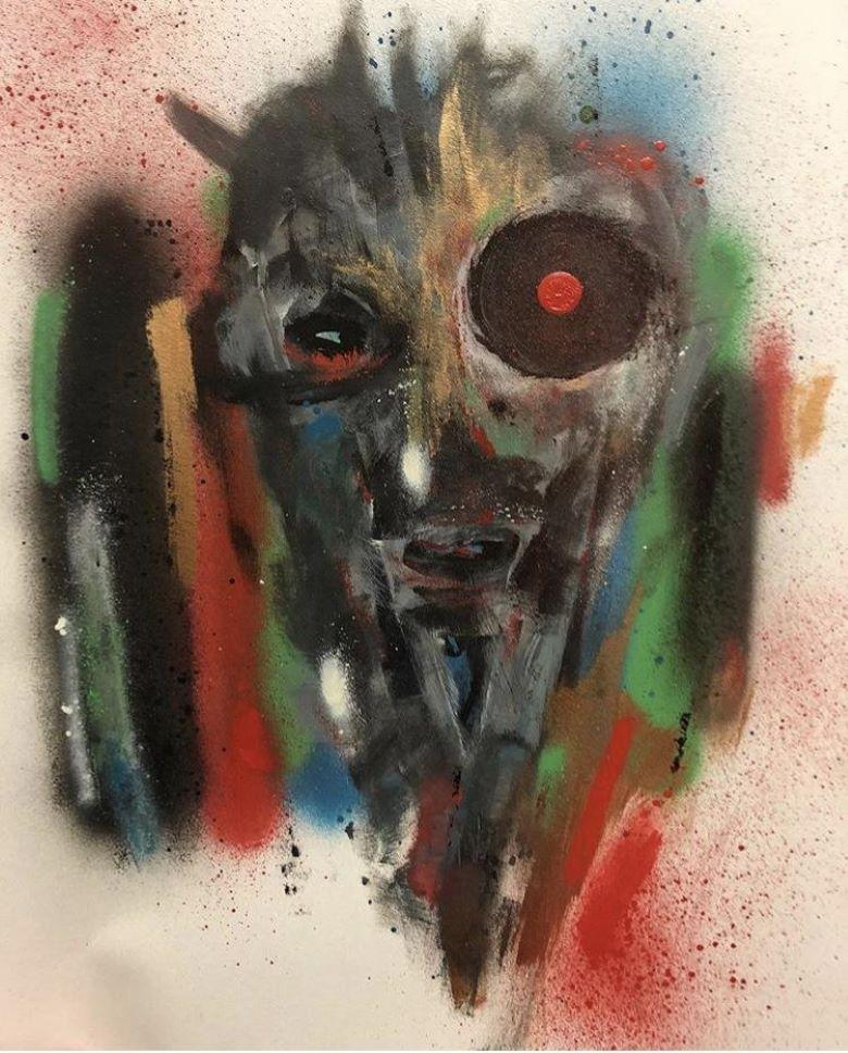 The Depiction - Spray Paint, Mixed Media on Paper, Bold, Expressive Faces