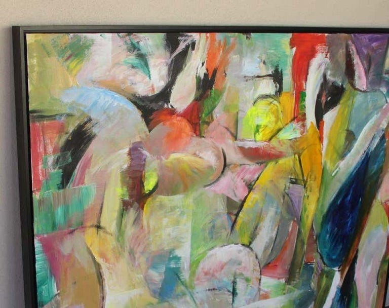 Untitled I: Bold Colors, Expressionist Painting on Canvas For Sale 4