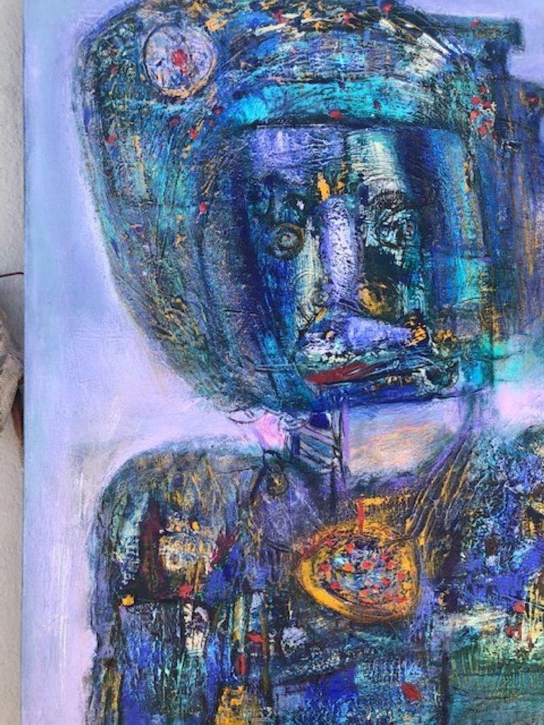 Painting, Layers of Paint, Blue, Gold, Violet, Warrior For Sale 1