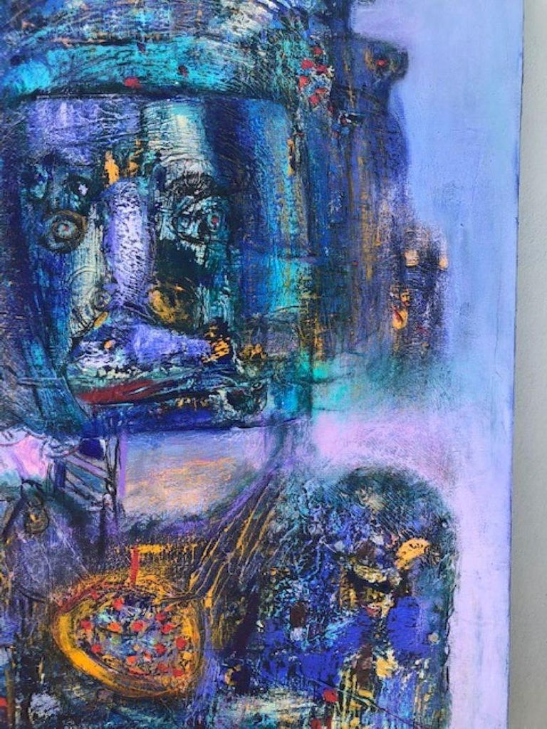 Painting, Layers of Paint, Blue, Gold, Violet, Warrior For Sale 3