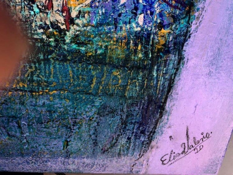 Painting, Layers of Paint, Blue, Gold, Violet, Warrior For Sale 2