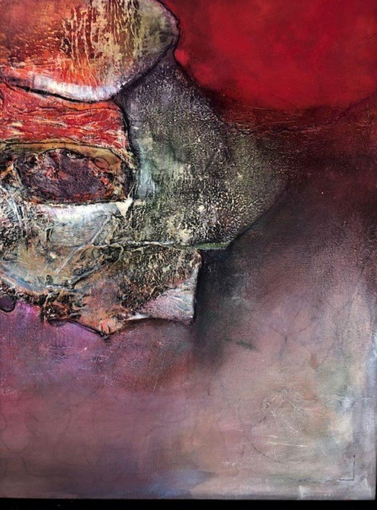 Abstraction - Painting, Movement, Texture, Red, Bold by Cuban Female Artist For Sale 1