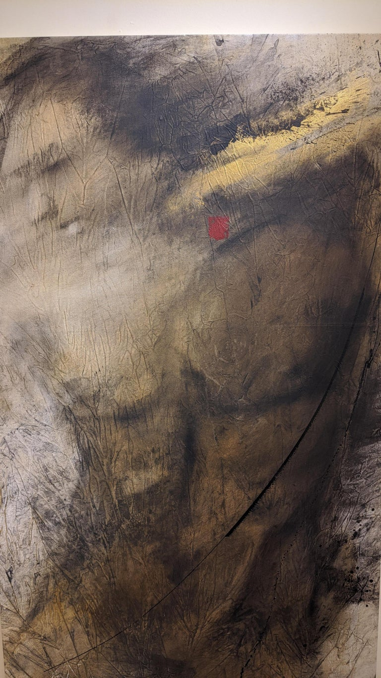 Mixed media painting by the artist; Desjardins. Using charcoal, oils and acrylic paints, Desjardins mainly features faces but was inspired to paint a figure for this piece.  Eden's creation is the artist's take on the biblical creation of Adam. The