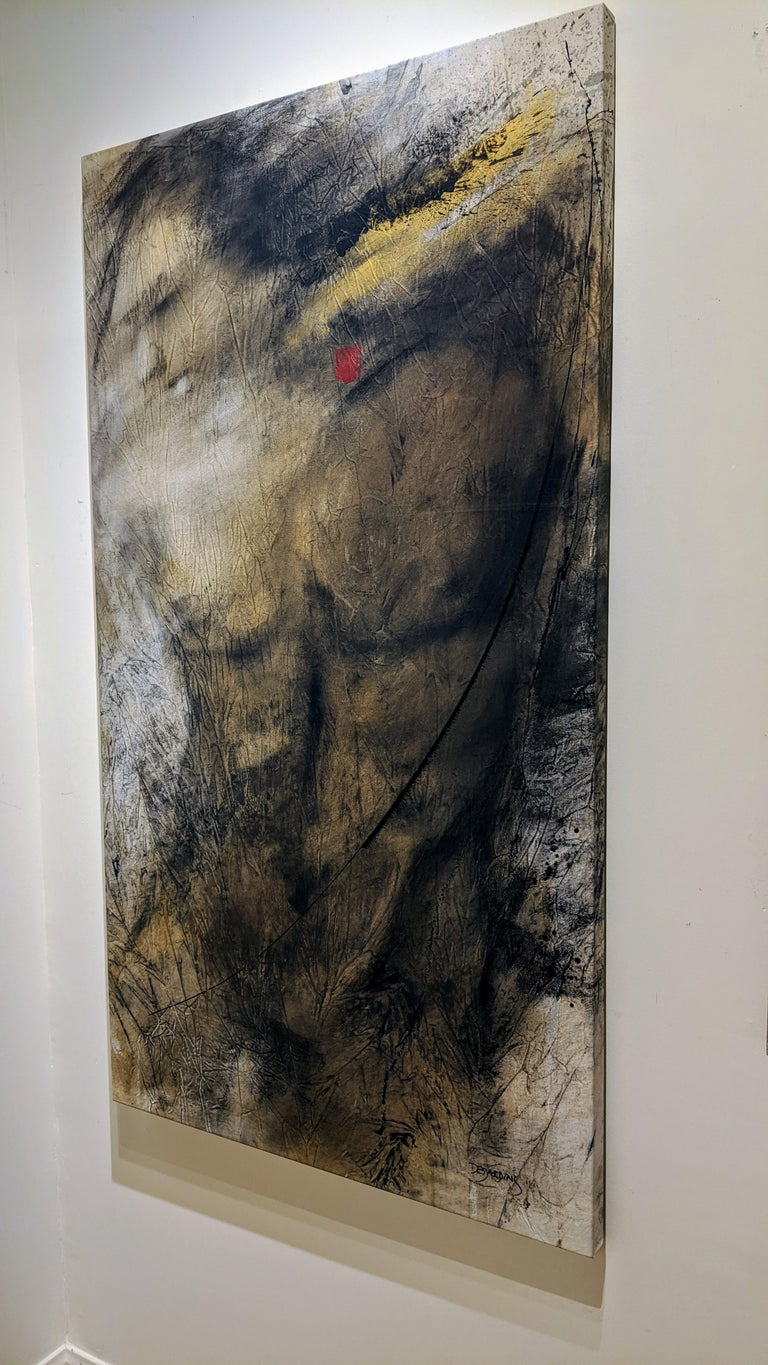 Painting, Mixed Media, Earth Tones, Nude, Male, Eden's Creation by Desjardins  For Sale 1