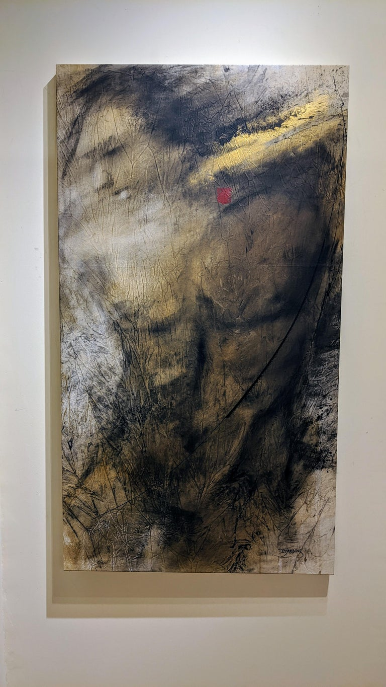 Painting, Mixed Media, Earth Tones, Nude, Male, Eden's Creation by Desjardins  - Brown Abstract Painting by Andre Desjardins