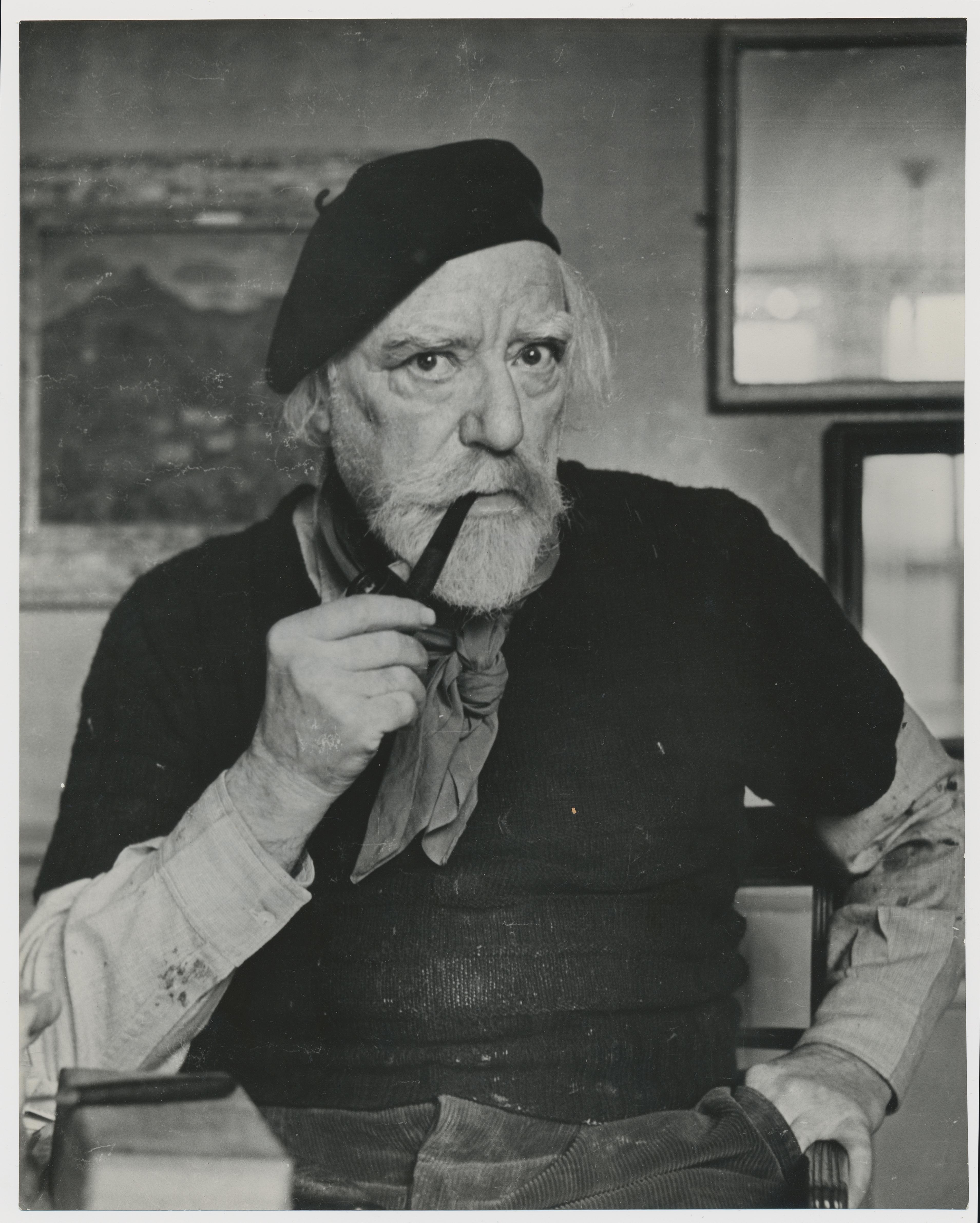 Portrait of painter Augustus John, by Allan Chappelow, England 1953.