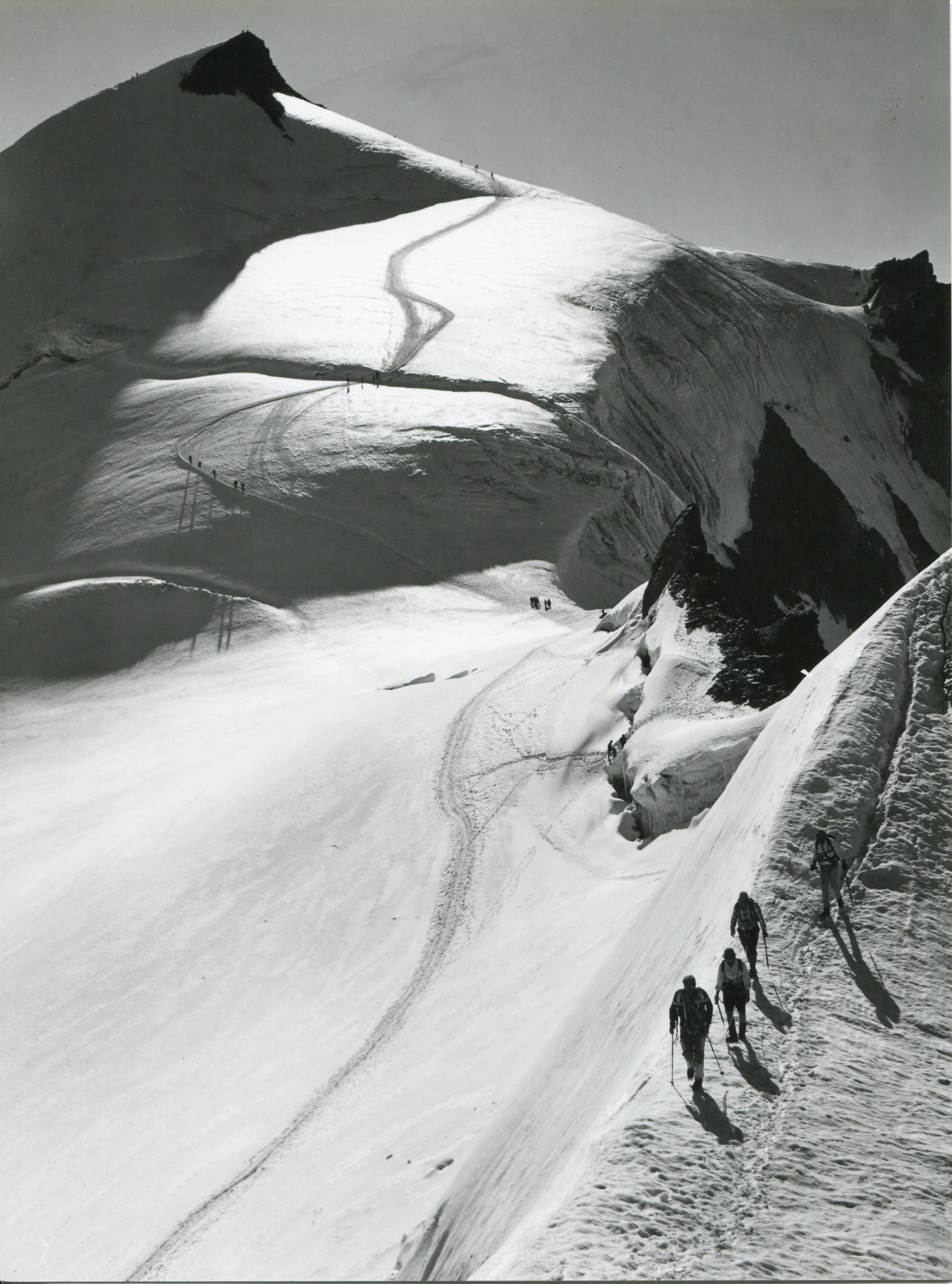 Mountaineers, Allalinhorn, Wallis, Switzerland