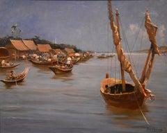 """A Siamese Water Market"" by Edwin Norbury"