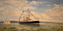 """H.M.S. Albion"""" Oil Painting by Gerald Burn"""