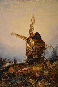 """Windmills by a Dutch Waterway"" by Joseph Paul"
