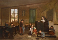 """""""The Schoolroom"""" oil painting by Theophile Emmanuel Duverger"""
