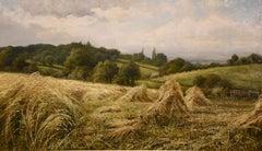 """""""Cornstukes"""" Landscpe Oil Painting by Henry John Kinnaird"""