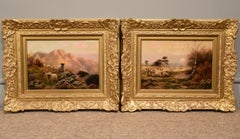 """October Moon"" and ""Evening"" Pair of Oil Paint Animal Paintings by Sidney Pike"