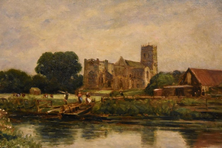 """""""Christchurch, Hampshire"""" by Arthur George Bell 1849-1916. Bell studied at the Slade School under Gerome and Carolus Durand at the Ecole des Beaux Artes in Paris. Regular exhibitor Royal Academy. Oil on canvas. Signed  Dimensions unframed height"""