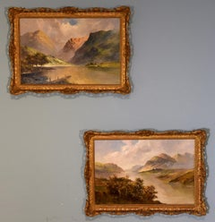 "Oil Painting Pair By Francis Jamieson ""Loch Earn Argyllshire and Loch Katrine"""