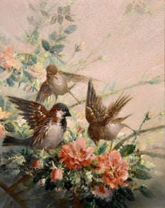 """Oil Painting By Vernon de Beauvoir Ward """"Sparrow and Spring Blossom"""""""