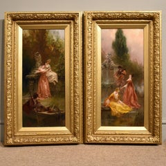 """Oil painting Pair by Thomas Gray """"The Love Letter"""" and """"The Serenade"""""""