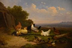 "Oil Painting by Cornelius Van Leemputten ""Chickens in Landscape"""