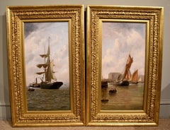 "Oil Painting Pair by Henry Witherspoon ""Barge Entering Dover Harbour"""