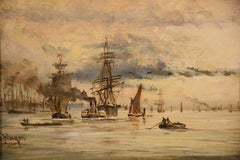 """Oil painting by Adolphe Ragon """"On the Thames near Woolwich"""""""