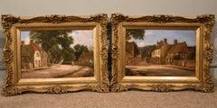"Oil painting Pair by Alfred Kedington Morgan ""Village High Street"""